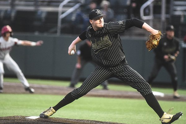 Vanderbilt pitcher Drake Fellows throws during a game against Arkansas on Friday, April 12, 2019, in Nashville, Tenn.