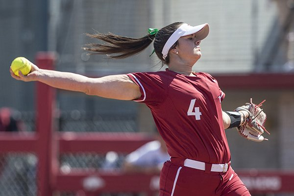 Arkansas pitcher Mary Haff throws during a game against South Carolina on Sunday, March 17, 2019, in Fayetteville.
