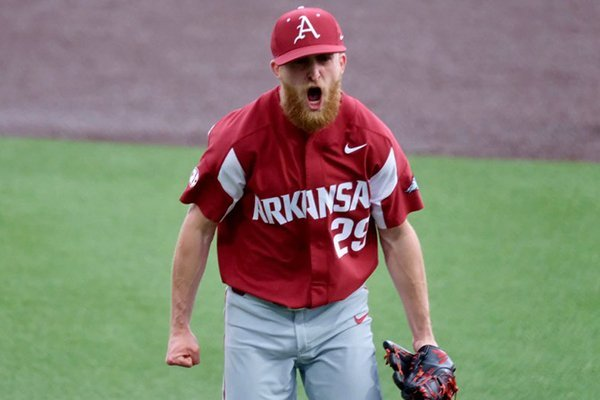 Arkansas pitcher Marshall Denton celebrates after recording the final out of a game against Vanderbilt on Sunday, April 14, 2019, in Nashville, Tenn.