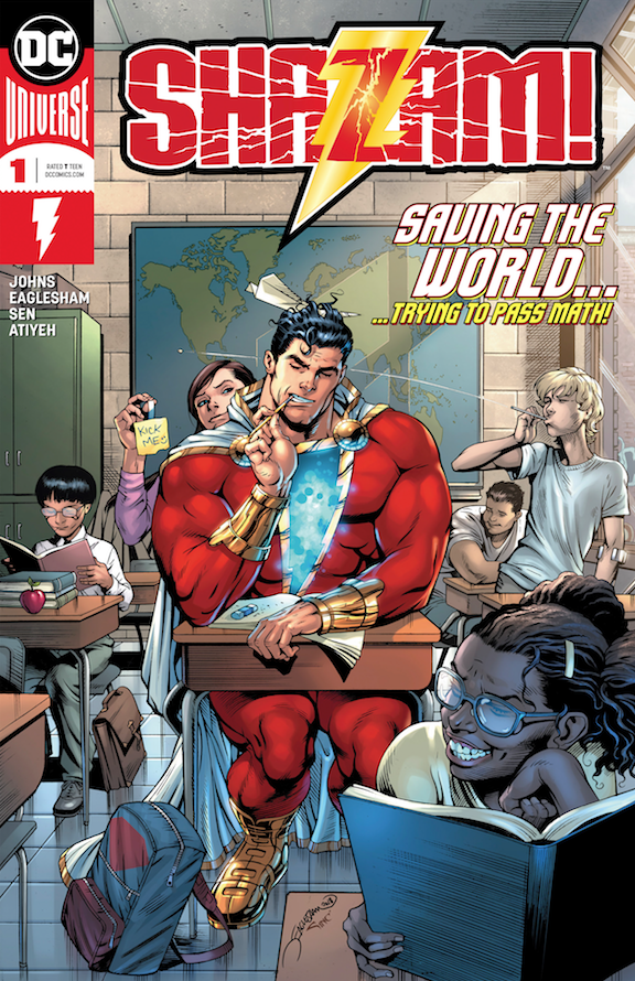 The cover of a new Shazam! comic book, which debuted in 2018. (DC Comics/The New York Times)