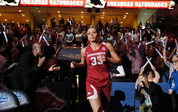 Arkansas' Chelsea Dungee enters the court prior to an NCAA college basketball championship game in the Southeastern Conference women's tournament, Sunday, March 10, 2019, in Greenville, S.C. (AP Photo/Richard Shiro)