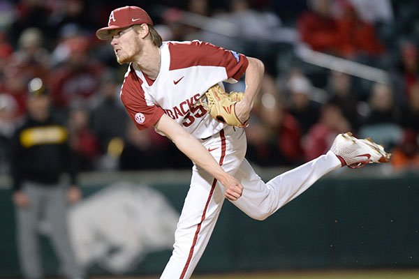 Arkansas reliever Jacob Kostyshock delivers to the plate against Missouri Friday, March 15, 2019, during the eighth inning at Baum-Walker Stadium in Fayetteville.