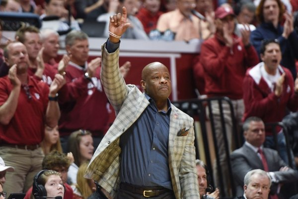 Arkansas Razorbacks head coach Mike Anderson gestures during the second half of the NCAA National Invitation Tournament, Saturday, March 23, 2019 at the Simon Skjodt Assembly Hall at the University of Indiana in Bloomington, Ind. The Arkansas Razorbacks fell to the Indiana Hoosiers 63-60.