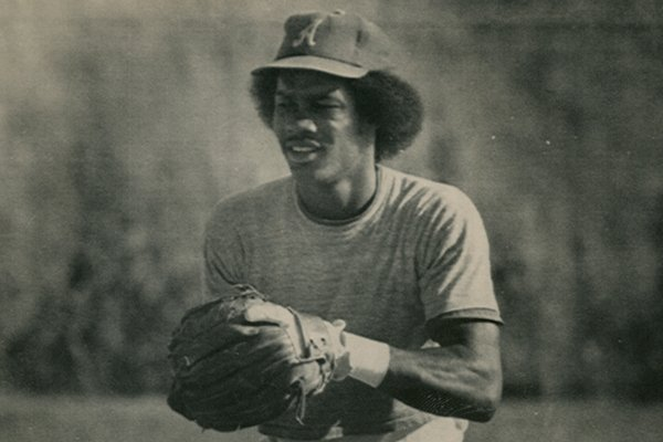 Arkansas second baseman Johnny Ray covers the base during a 1979 practice in Omaha, Neb.