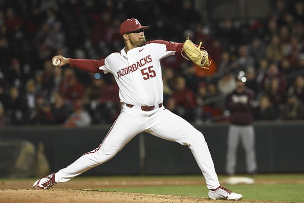Arkansas pitcher Isaiah Campbell throws during a game against Mississippi State on Thursday, April 18, 2019, in Fayetteville.