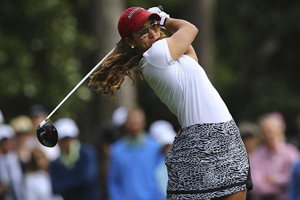 Maria Fassi tees off on the second hole during the final round of the Augusta National Women's Amateur golf tournament in Augusta, Ga., Saturday, April 6, 2019. (Curtis Compton/Atlanta Journal-Constitution via AP)