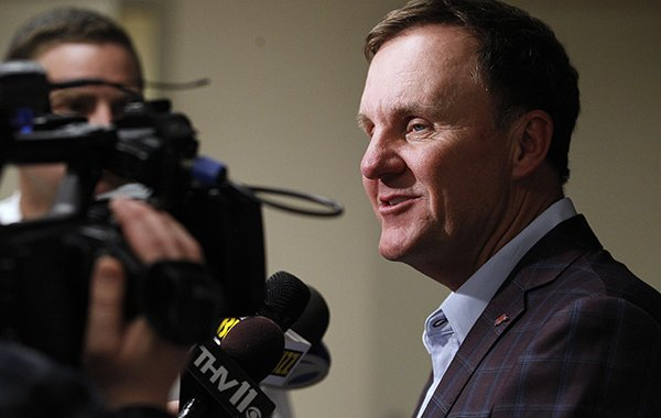 Arkansas football coach Chad Morris talks to the media during the State of the Hog event on Wednesday, April 10, 2019, at Verizon Arena in North Little Rock.