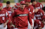 Arkansas Mississippi State Friday, April 19, 2019, during the inning at Baum-Walker Stadium in Fayetteville. Visit nwadg.com/photos to see more photographs from the game.