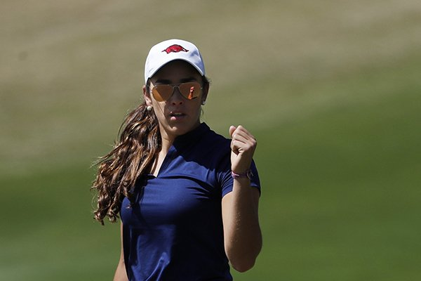 Maria Fassi pumps her fist after sinking a putt on the 10th hole during the first round of the Augusta National Women's Amateur golf tournament at Champions Retreat in Evans, Ga., Wednesday, April 3, 2019. (AP Photo/David Goldman)