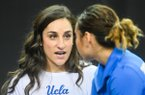 UCLA volunteer coach Jordyn Wieber talks with Katelyn Ohashi during podium training held at the Fort Worth Convention Center on Thursday, April 18, 2019, in Fort Worth, Texas. Wieber, a 23-year-old former Olympic gold medalist, has been hired as head coach at Arkansas. (Amy Sanderson/ZUMA Wire) (Cal Sport Media via AP Images)