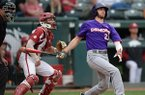 Northwestern State right fielder Tyler Smith watches Wednesday, April 24, 2019, as a two-run home run sails over the right field fence during the ninth inning against Arkansas at Baum-Walker Stadium in Fayetteville. Smith finished with three home runs and 7 RBI in a 10-7 win over Arkansas.
