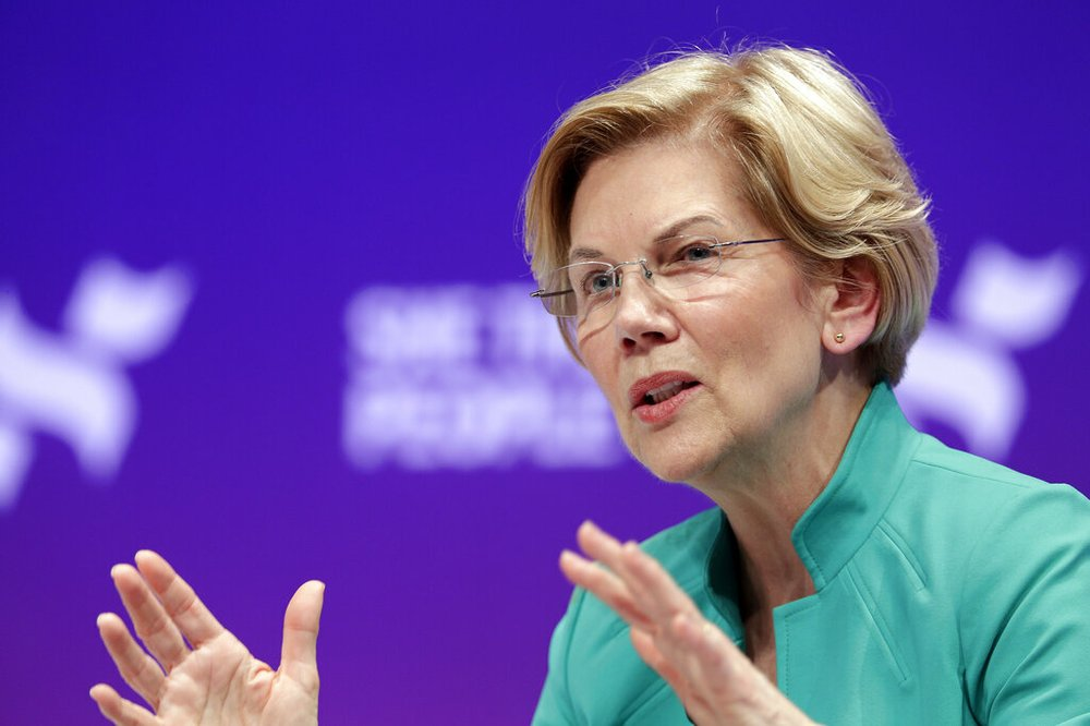 Democratic presidential candidate Sen. Elizabeth Warren, D-Mass., answers questions during a presidential forum held by She The People on the Texas State University campus Wednesday, April 24, 2019, in Houston. (AP Photo/Michael Wyke)