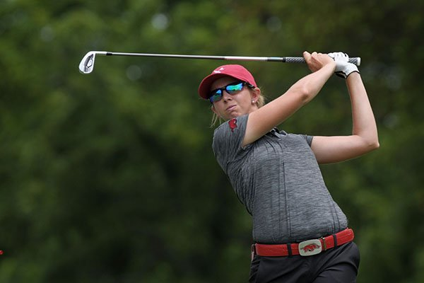 Former Arkansas golfer Summar Roachell hits from the No. 3 tee box during the local qualifier for the LPGA Walmart NW Arkansas Championship on Monday, June 19, 2017, in Rogers.