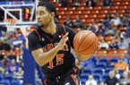Idaho State's Brandon Boyd moves the ball during the second half of an NCAA college basketball game against Boise State in Boise, Idaho, Sunday, Dec. 18, 2016. Boise State won 82-59. (AP Photo/Otto Kitsinger)