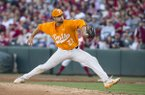 Tennessee pitcher Garrett Stallings throws during a game against Arkansas on Saturday, April 27, 2019, in Fayetteville.
