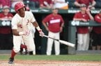 Arkansas outfielder Christian Franklin hits a home run during a game against Tennessee on Sunday, April 28, 2019, in Fayetteville.