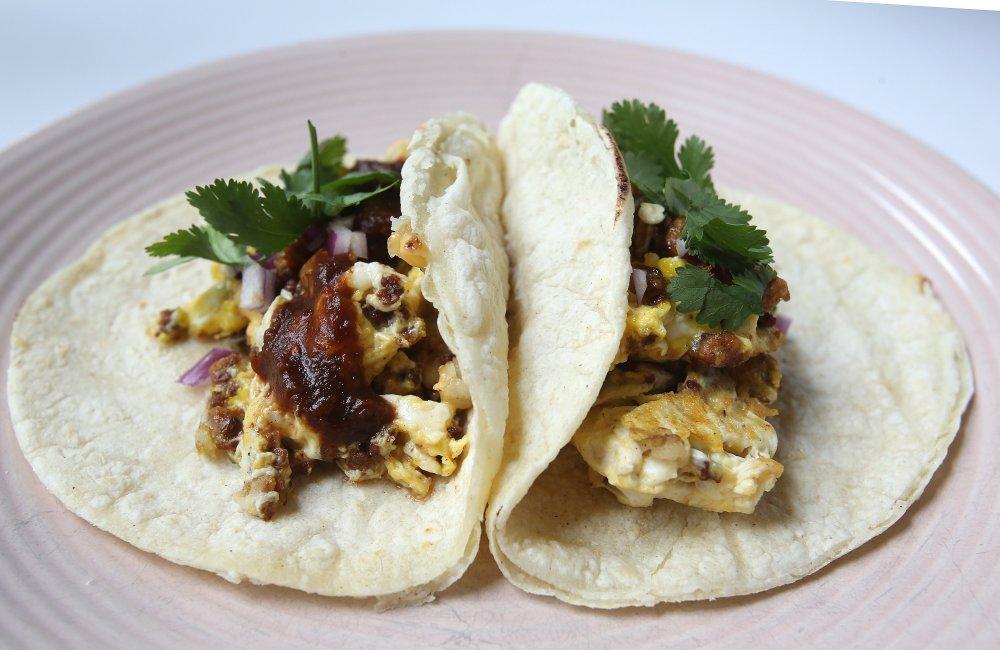 Chorizo and Potato Breakfast Tacos Photo by Thomas Metthe (Arkansas Democrat-Gazette)