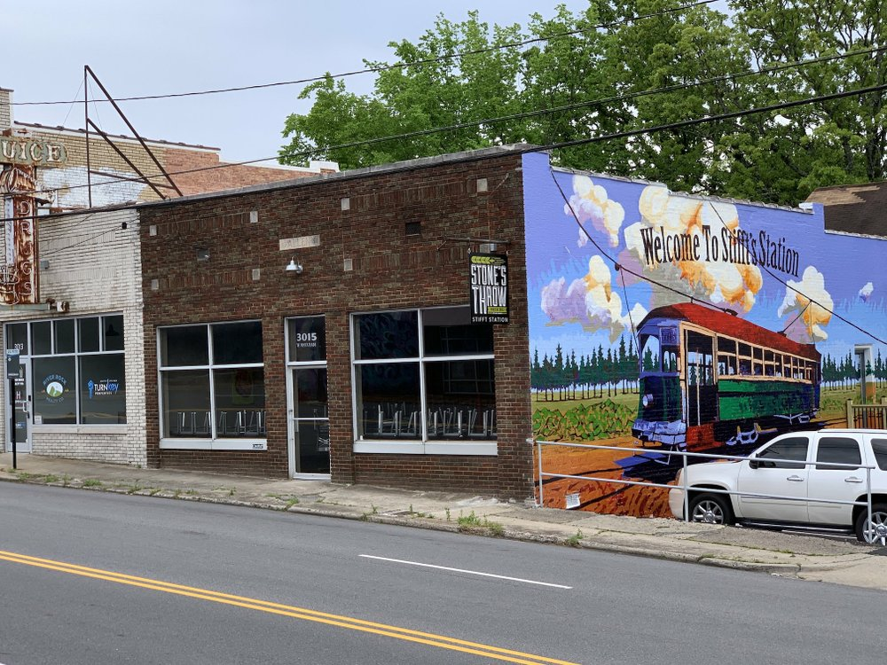 Arkansas Democrat-Gazette/ERIC E. HARRISON  Stone's Throw Brewing is set to open it's its Stifft Station pub -- with its brand new streetcar mural -- next week.