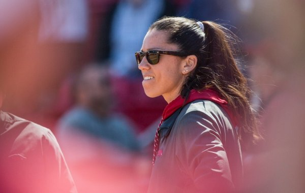 Courtney Diefel, Arkansas head coach, watches vs South Carolina Sunday, March 17, 2019, at Bogle Park in Fayetteville.
