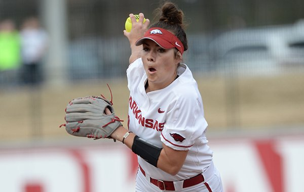 Arkansas starter Autumn Storms delivers to the plate against Kentucky Friday, March 29, 2019, during the first inning at Bogle Park in Fayetteville.