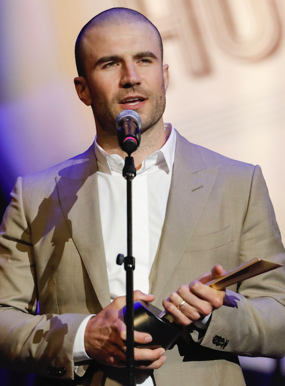 Sam Hunt was presented the Gene Weed Milestone Award at the annual Academy of Country Music Honors at the Ryman Auditorium on Aug. 22 in Nashville, Tenn. (Invision/AP/AL WAGNER)