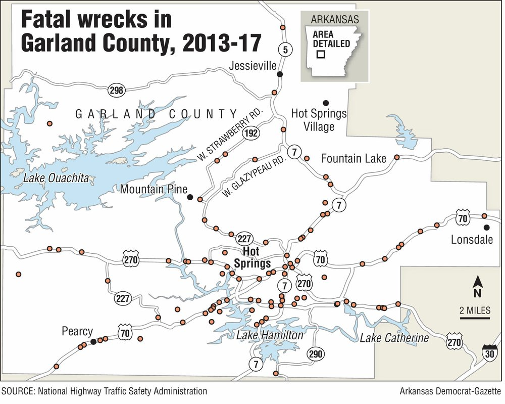 A map showing fatal wrecks in Garland County, 2013-17