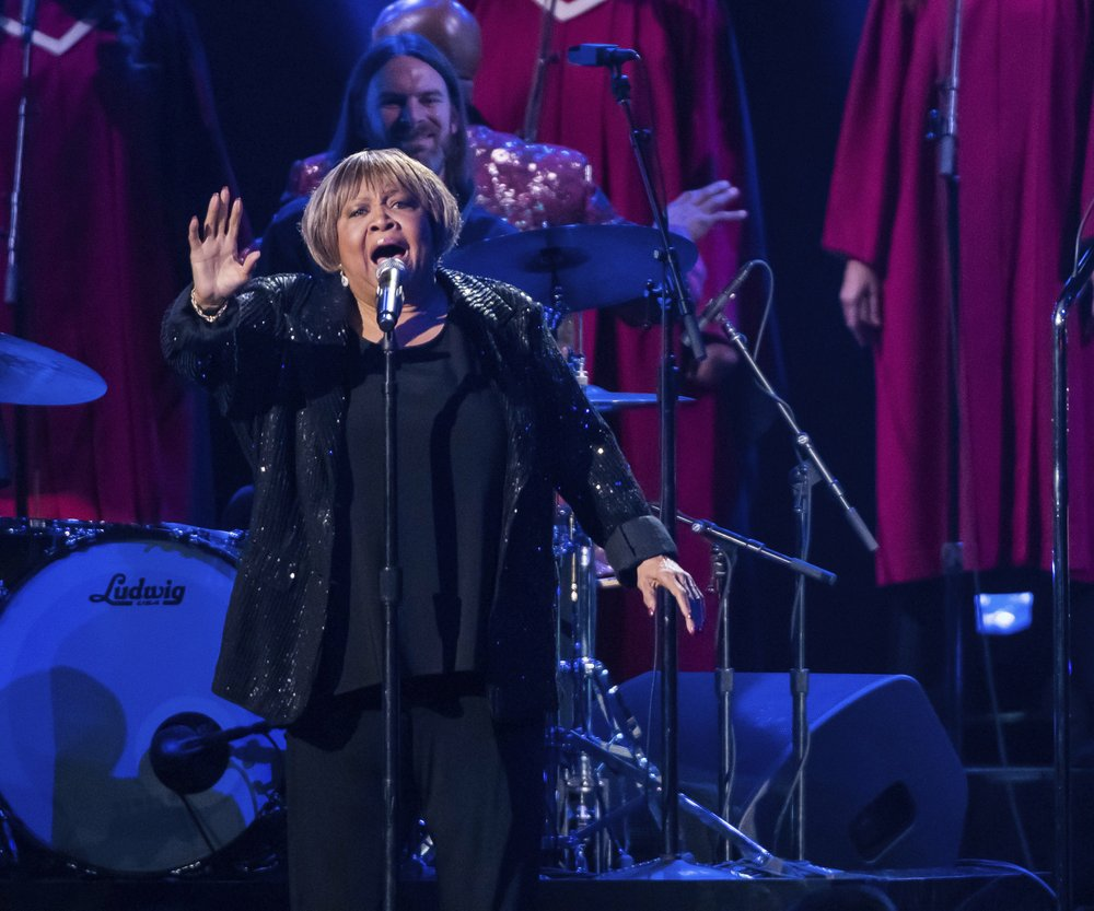 """Mavis Staples performs """"I'll Take You There"""" at the 52nd annual Country Music Association Awards on Nov. 14 in Nashville, Tenn. Photo by Charles Sykes via AP"""