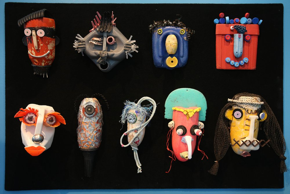 """Plastic jugs, tennis balls and other odds and ends were used to make Plastic Tribe, one piece of """"Washed Ashore: Art to Save the Sea,"""" on display at the Clinton Presidential Center. Photo by Thomas Metthe, Arkansas Democrat-Gazette"""