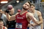 Arkansas' Gabe Moore competes in the shot put event in the heptathlon competition during the NCAA Division 1 indoor athletics championships, Friday, March 8, 2019, at the Birmingham CrossPlex in Birmingham, Ala. (AP Photo/Vasha Hunt)