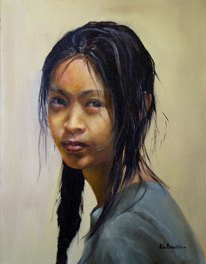 """Kim Brecklein of Harrison created a captivating portrait with """"Mikee's Future,"""" an oil on canvas. (Courtesy of the Arkansas Arts Center)"""