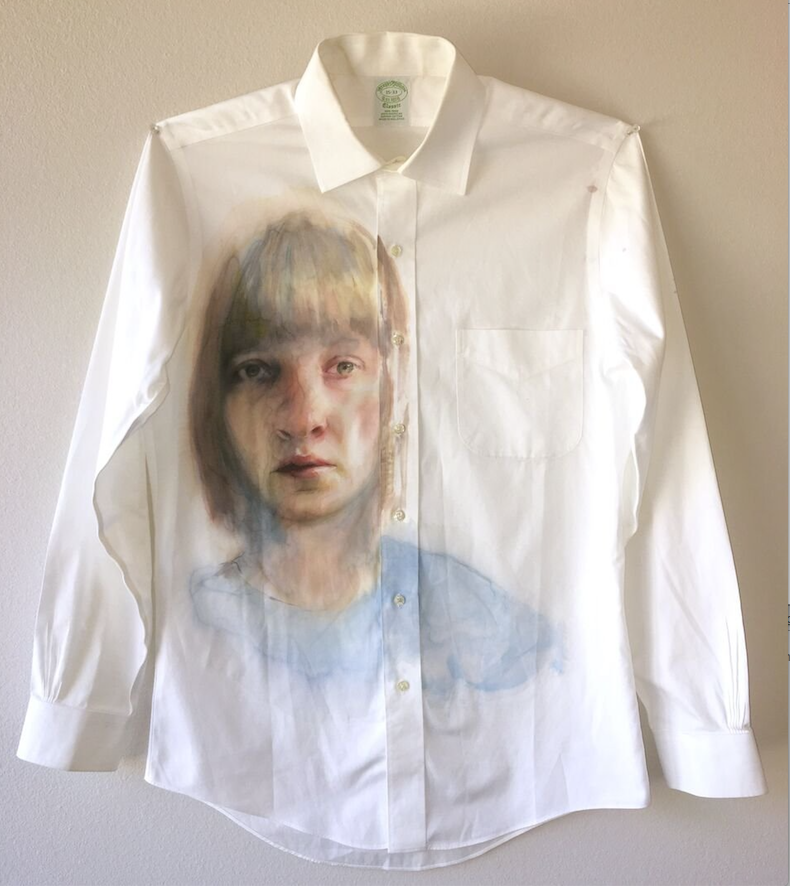 """""""Working Self-Portrait"""" is the title of Little Rock resident Emily Wood's watercolor and watercolor pencil on a worn white shirt. (Courtesy of the Arkansas Arts Center)"""