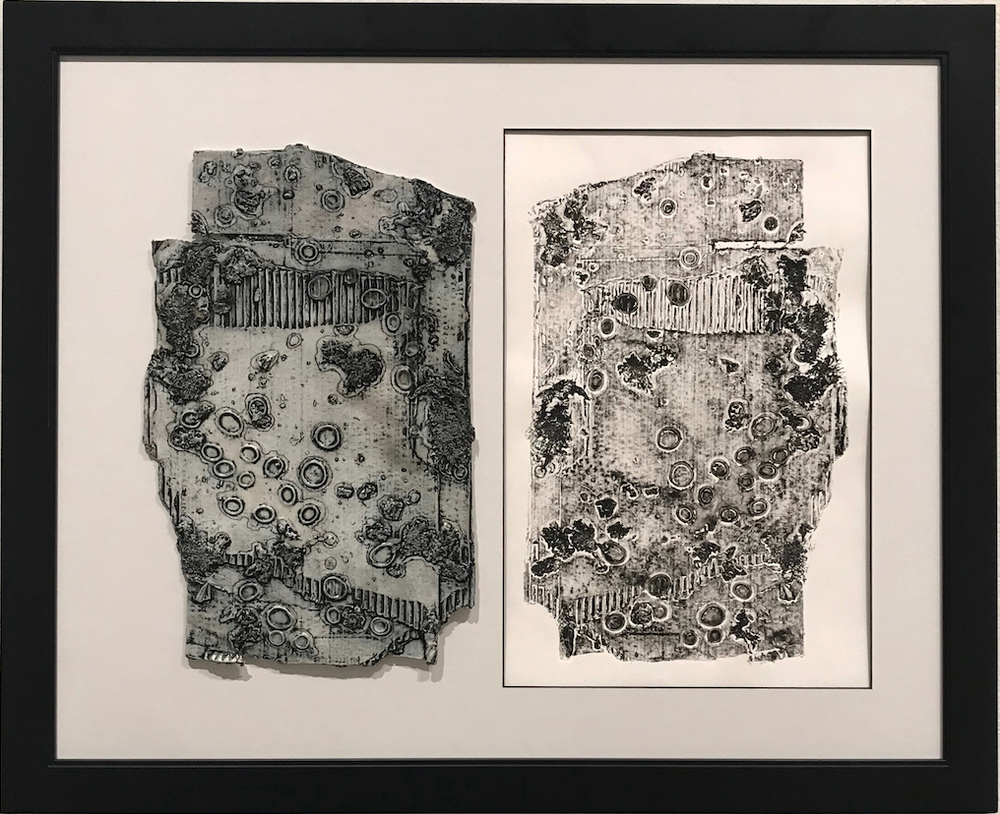 """Heather Christine Guenard's """"LV-426,"""" a collagraph plate and print. (Courtesy of the Arkansas Arts Center)"""