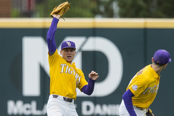 LSU outfielder Antoine Duplantis makes a catch during a game against Arkansas on Saturday, May 11, 2019, in Fayetteville.