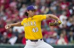 LSU pitcher Todd Peterson throws during a game against Arkansas on Saturday, May 11, 2019, in Fayetteville.