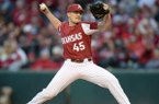 Arkansas pitcher Kevin Kopps throws during a game against LSU on Friday, May 10, 2019, in Fayetteville.