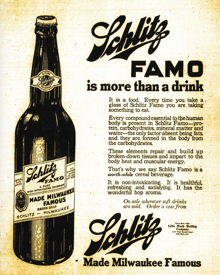 "Schlitz promoted its ""worth-while cereal beverage"" Famo in the May 14, 1919, Arkansas Gazette as ""containing every compound essential to the human body."" (Arkansas Democrat-Gazette)"