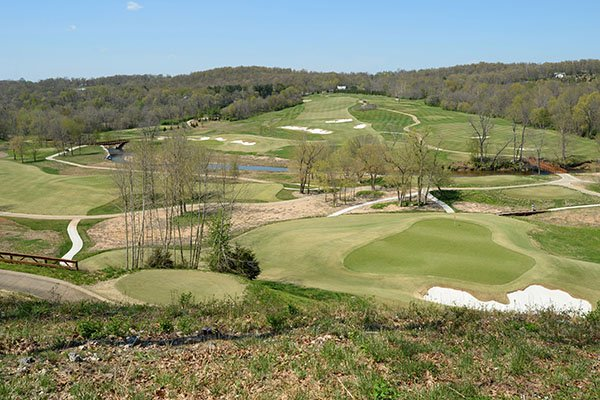 Overlooking green No. 16 on Tuesday, April 9, 2019, at Blessings Golf Club in Johnson.