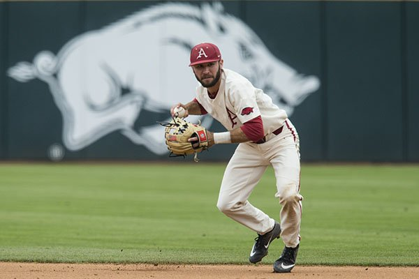 Arkansas second baseman Jack Kenley gets ready to throw during a game against LSU on Saturday, May 11, 2019, in Fayetteville.