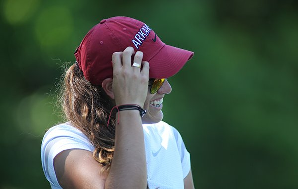 Arkansas senior golfer Maria Fassi smiles during the practice round for the NCAA Golf Championships on Thursday, May 16, 2019, at Blessings Golf Club in Johnson.