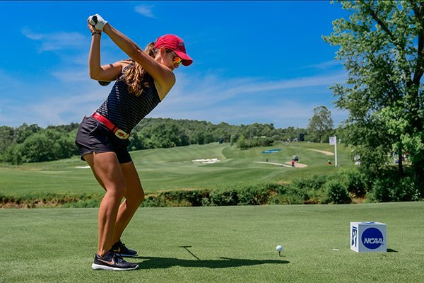 Arkansas senior Maria Fassi prepares to tee off during the NCAA Golf Championships on Friday, May 17, 2019, at Blessings Golf Club in Johnson.