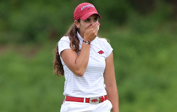 Arkansas senior golfer Maria Fassi reacts after making the final putt during the NCAA Women's Golf Championships on Monday, May 20, 2019, at Blessings Golf Club in Fayetteville.