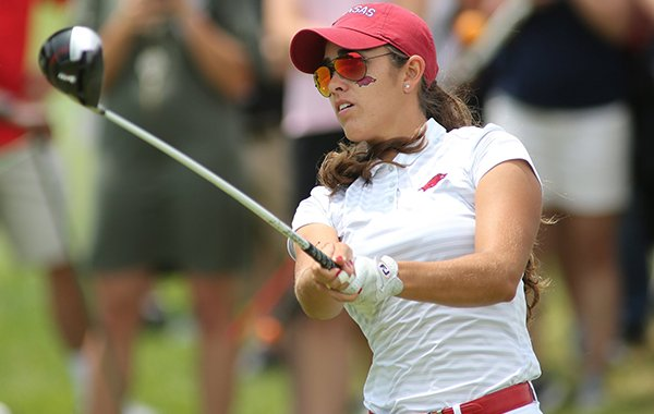 Arkansas senior Maria Fassi tees off on the first hole Monday, May 20, 2019, at Blessings Golf Club in Fayetteville.