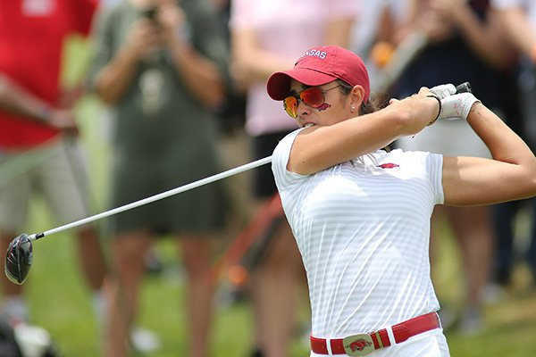 Arkansas golfer Maria Fassi tees off on the first hole during the NCAA Women's Golf Championships on Monday, May 20, 2019, at Blessings Golf Club in Fayetteville.