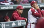 Arkansas coach Dave Van Horn watches from the dugout during a game against LSU on Thursday, May 9, 2019, in Fayetteville.
