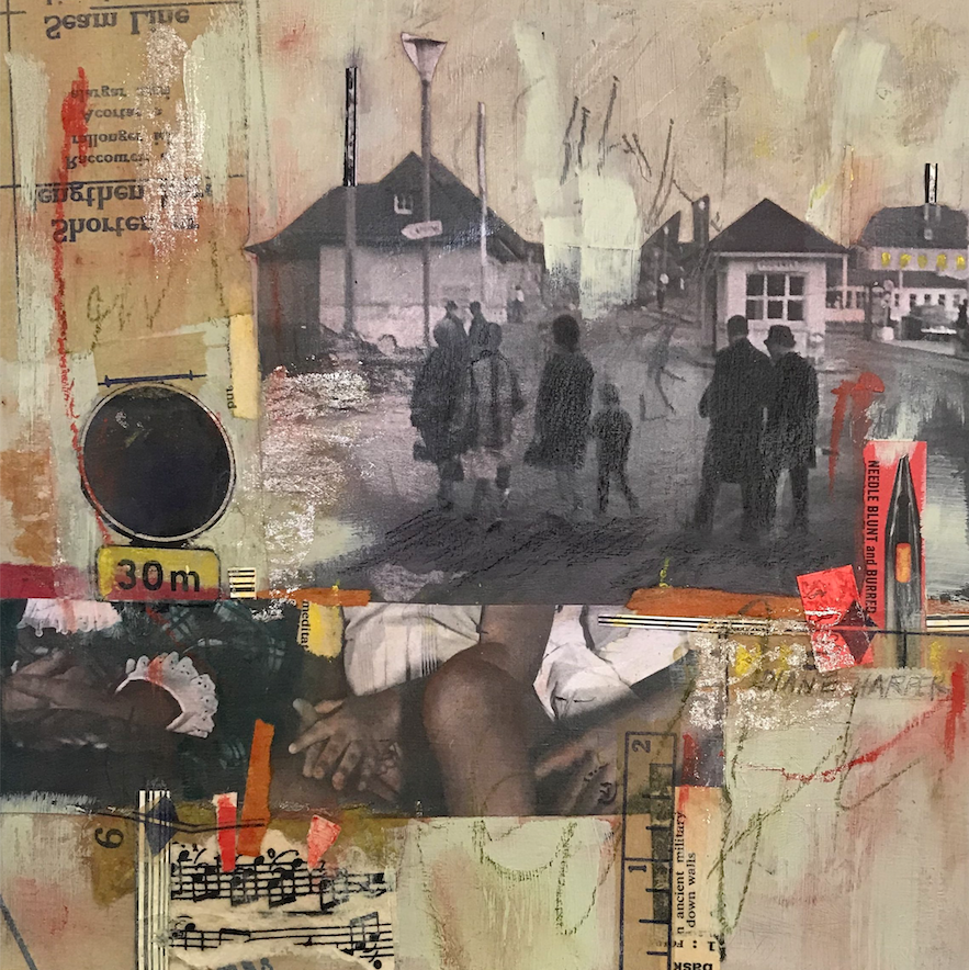 """Border Crossing"" is a mixed media collage on board. Harper's father, Hal Page, photographed the source images. (Courtesy of Diane Page Harper)"