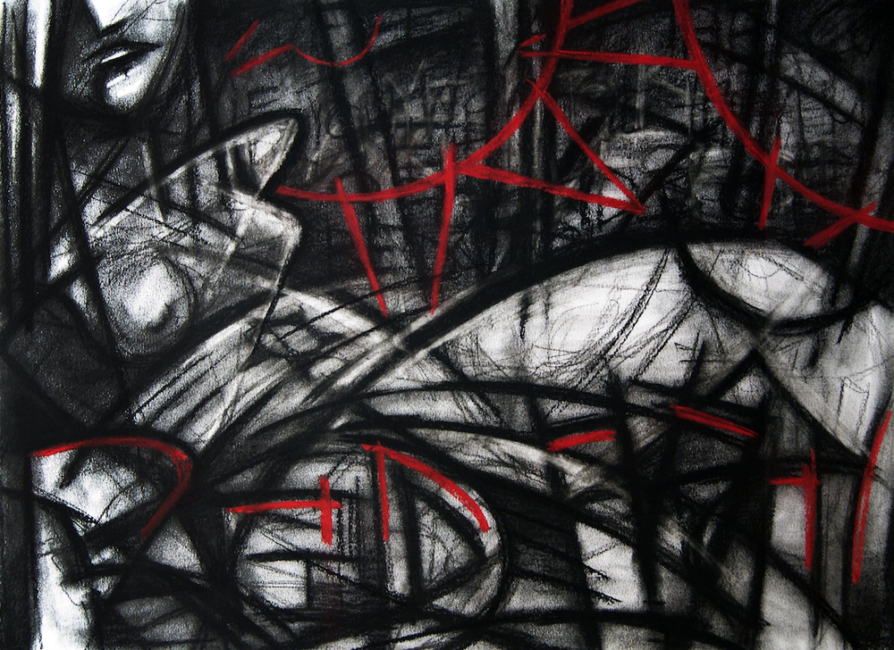 "This charcoal on paper drawing by Robert Bean is titled ""Red Violins."" (Courtesy of Robert Bean)"