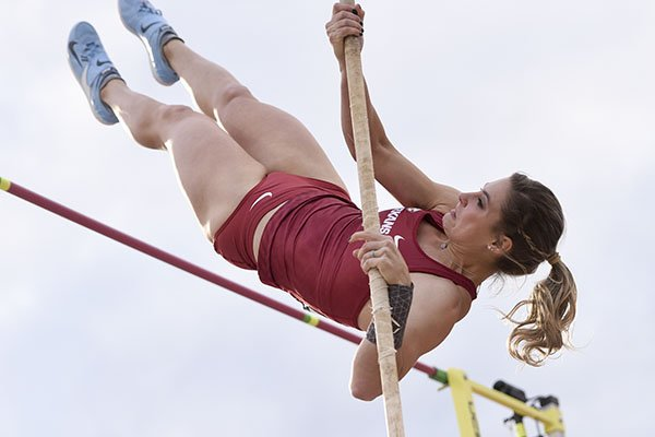 Arkansas pole vaulter Lexi Jacobus competes during the SEC Outdoor Track and Field Championships on Friday, May 10, 2019, at John McDonnell Field in Fayetteville.