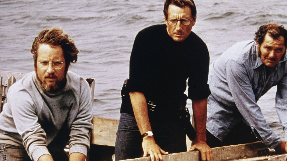 Matt Hooper (Richard Dreyfuss), Chief Martin Brody (Roy Scheider) and sea captain Quint (Robert Shaw) in Jaws.