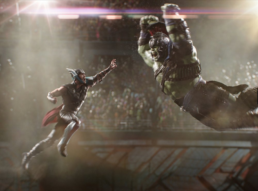 Thor (Chris Hemsworth) faces off against former ally The Hulk (Mark Ruffalo) as Thor: Ragnarok kicks off the 15th season of the River Market outdoor film series June 5 in the First Security Amphitheater.