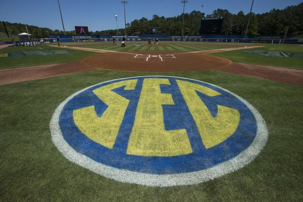 An SEC logo is shown behind home plate prior to an SEC Tournament game between Arkansas and Ole Miss on Wednesday, May 22, 2019, in Hoover, Ala.
